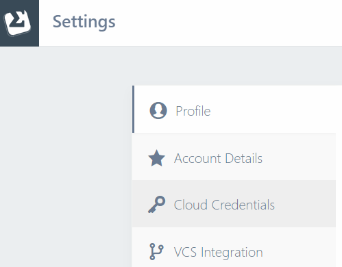 Cloud Credentials tab on Settings page