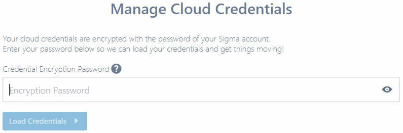 Cloud Credentials pane with encryption PIN request prompt