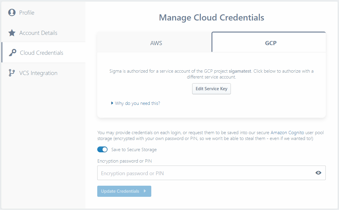 Cloud Credentials tab with GCP credentials populated