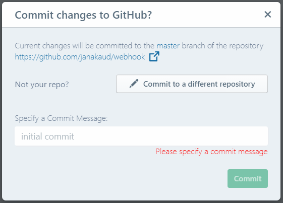 'Commit Changes' dialog